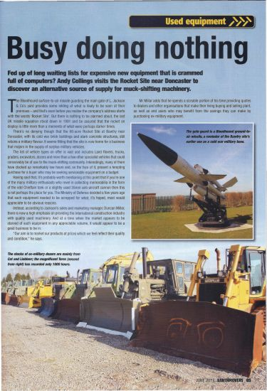 Feature Article in Earthmover Magazine
