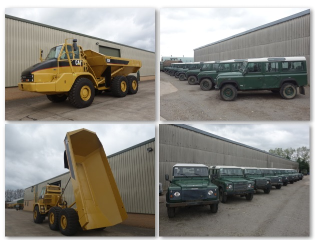 Latest arrivals: 2x  Caterpillar 730 6x6 and 9x Land rovers 110 LHD station wagon TD5