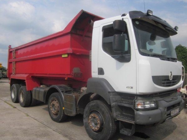 SOLD 4 Renault Kerax 8x4 RHD tipper trucks Used ex army truck for sale